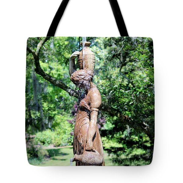 Lady At The Fountain Tote Bag by Cynthia Guinn