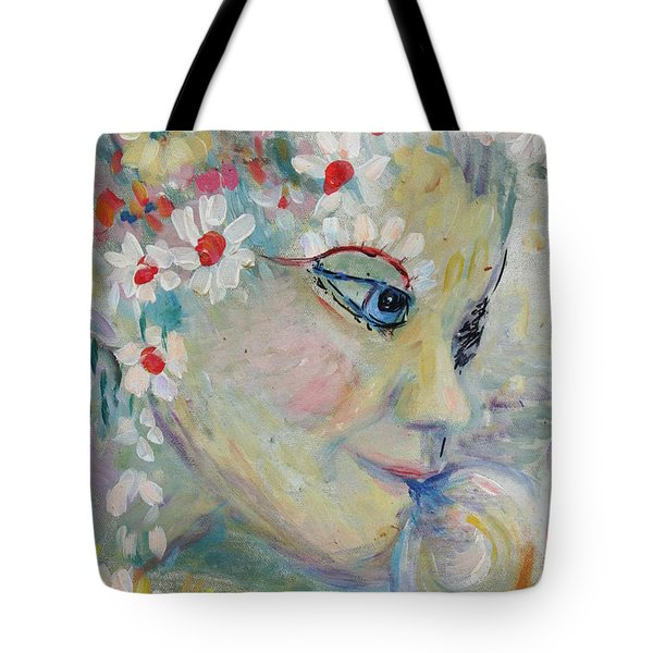 Tote Bag featuring the painting Lady In The Waterfall by Avonelle Kelsey
