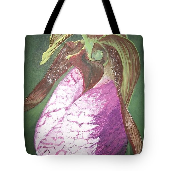 Tote Bag featuring the painting Lady Slipper Orchid by Sharon Duguay