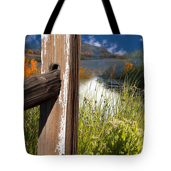 Landscape With Fence Pole Tote Bag