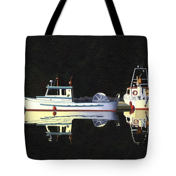 Tote Bag featuring the painting Last Light  Island Moorage by Gary Giacomelli
