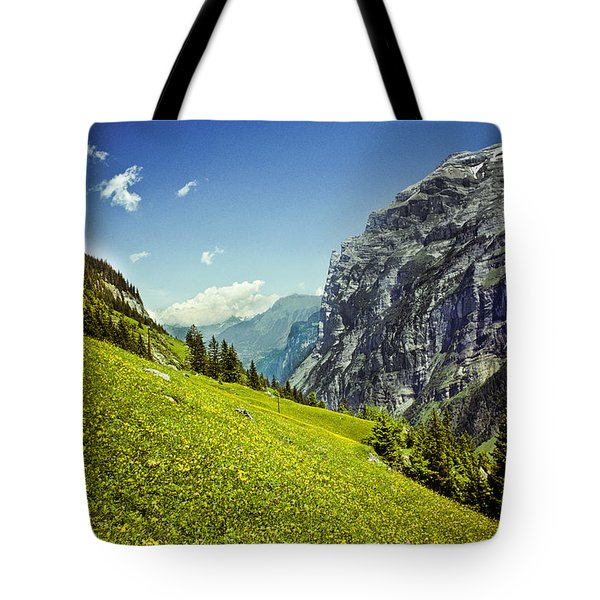Tote Bag featuring the photograph Lauterbrunnen Valley In Bloom by Jeff Goulden