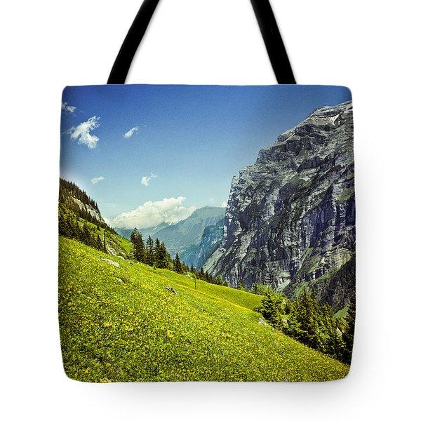 Lauterbrunnen Valley In Bloom Tote Bag by Jeff Goulden