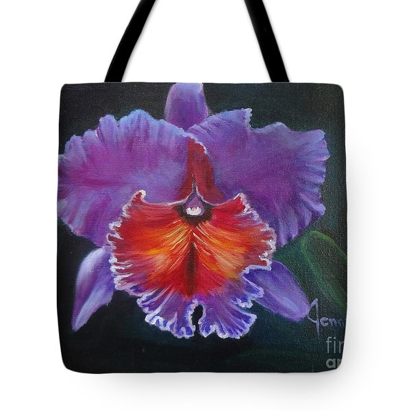 Tote Bag featuring the painting Lavender Orchid by Jenny Lee