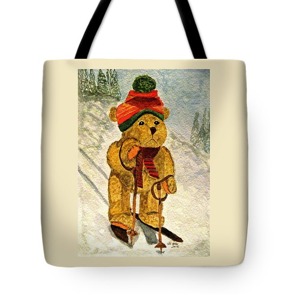 Learning To Ski Tote Bag