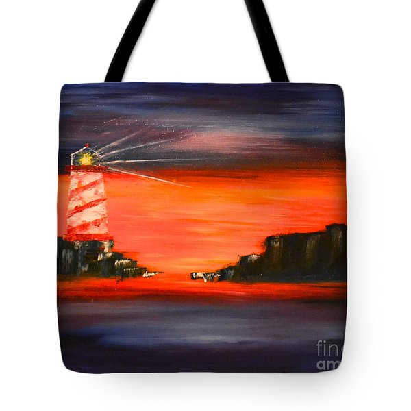Tote Bag featuring the painting Lighthouse Bay by Denise Tomasura