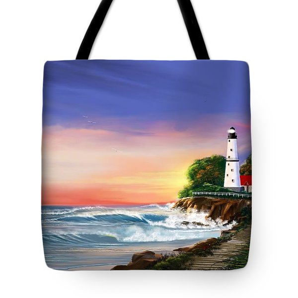 Lighthouse On The Cliff Tote Bag by Anthony Fishburne