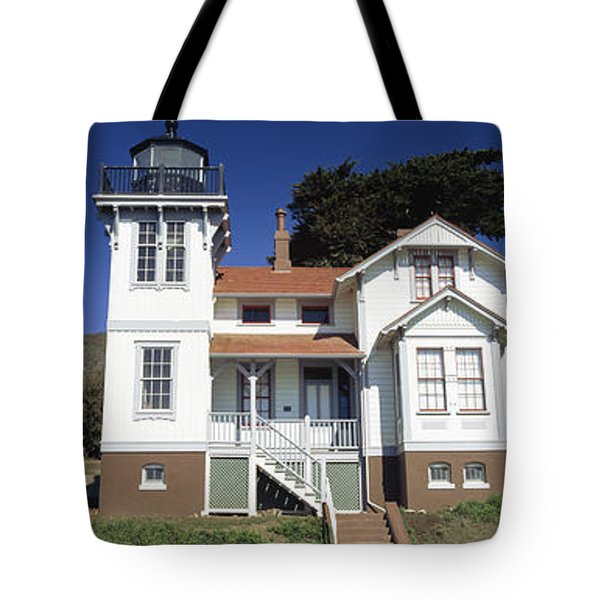 Low Angle View Of A Lighthouse, Point Tote Bag