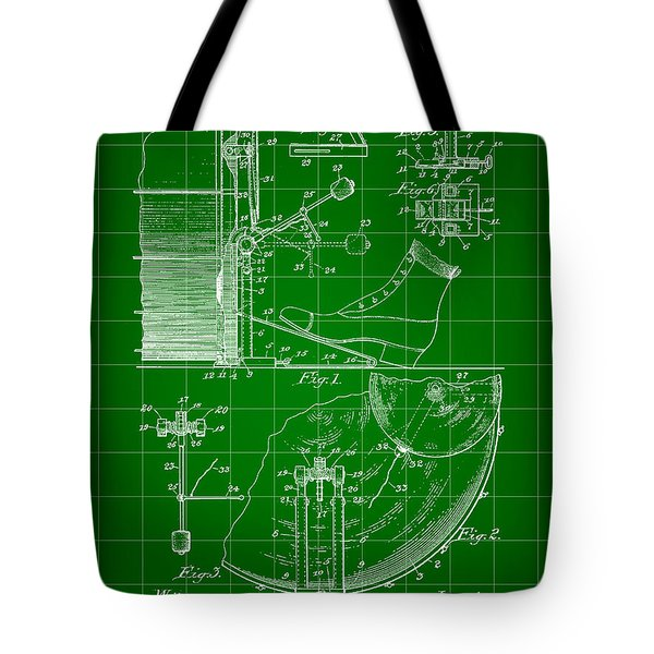 Ludwig Drum And Cymbal Foot Pedal Patent 1909 - Green Tote Bag