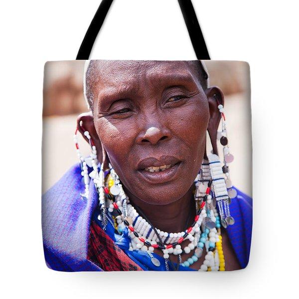 Maasai Woman Portrait In Tanzania Tote Bag by Michal Bednarek