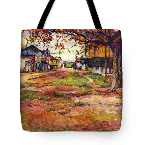 Main Street Of Early Spanish California Days San Juan Bautista Rowena M Abdy Early California Artist Tote Bag
