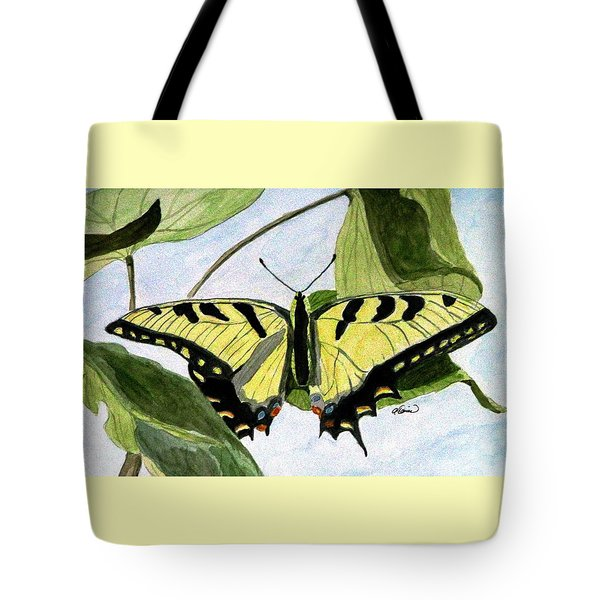 Male Eastern Tiger Swallowtail Tote Bag by Angela Davies