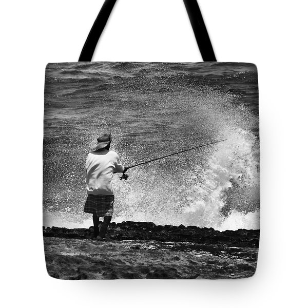 Man Versus The Sea Tote Bag by Mike  Dawson