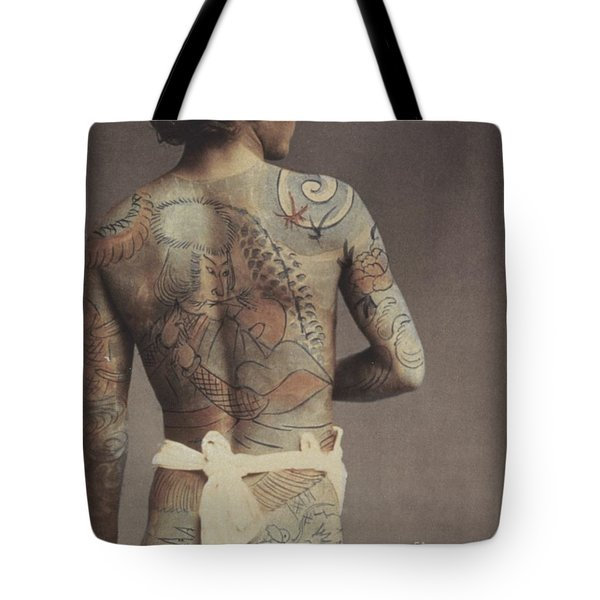 Man With Traditional Japanese Irezumi Tattoo Tote Bag by Japanese Photographer