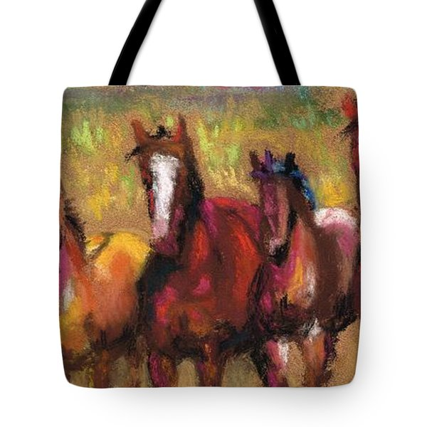 Mares And Foals Tote Bag by Frances Marino