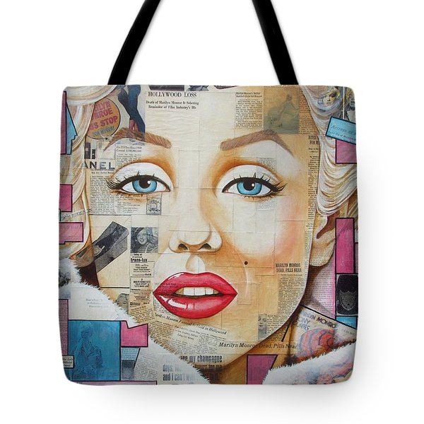 Marilyn In Pink And Blue Tote Bag