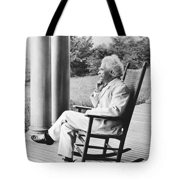 Mark Twain On A Porch Tote Bag by Underwood Archives