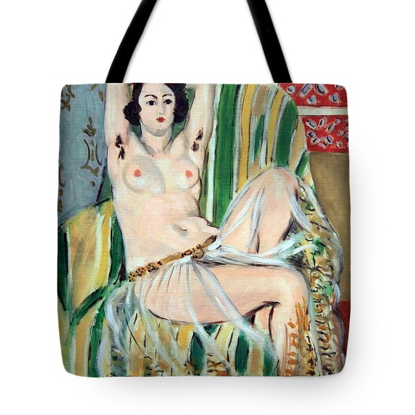 Matisse's Odalisque Seated With Arms Raised In Green Striped Chair Tote Bag by Cora Wandel