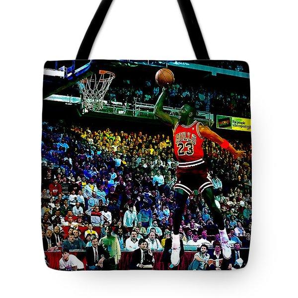 Michael Jordon Tote Bag by Marvin Blaine