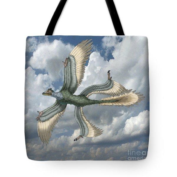 Microraptor Tote Bag by Spencer Sutton