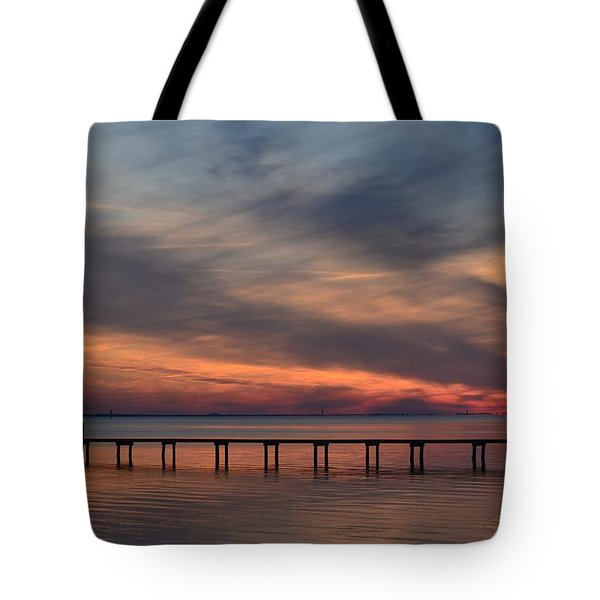 Tote Bag featuring the photograph Mirrored Sunset Colors On Santa Rosa Sound by Jeff at JSJ Photography