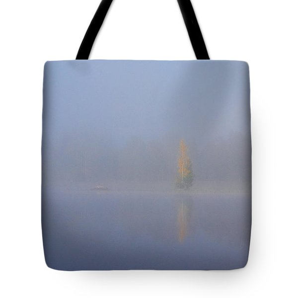Misty Morning On A Lake Tote Bag by Jouko Lehto