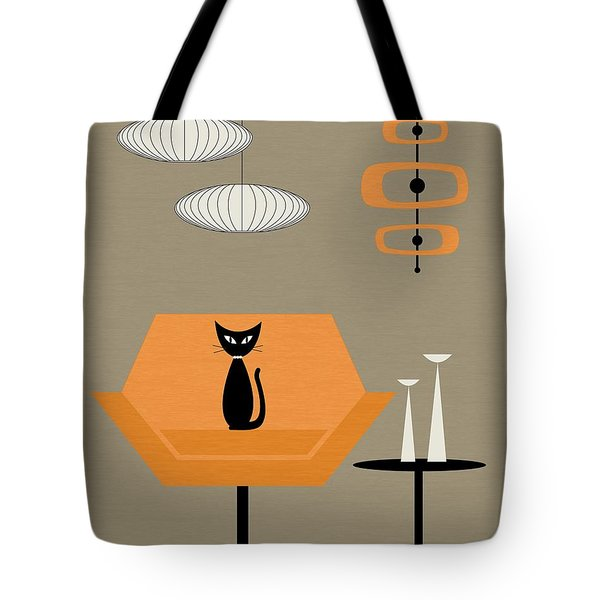 Tote Bag featuring the digital art Mod Chair In Orange by Donna Mibus