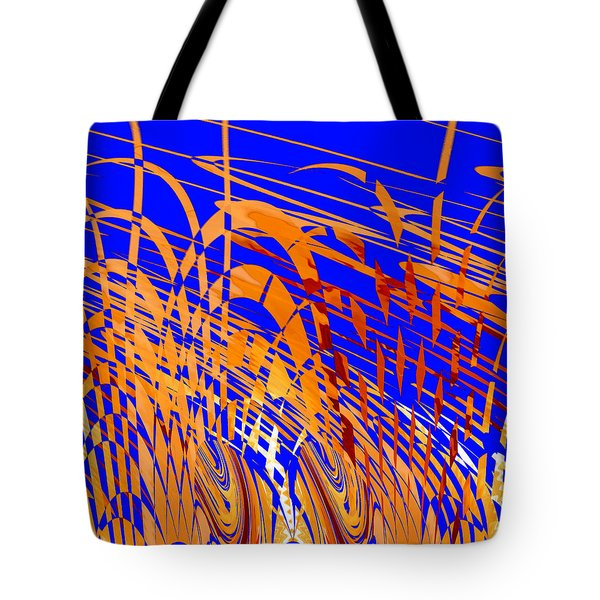 Tote Bag featuring the digital art Modern Art Viii - Variation In Orange And Blue by Roy Erickson