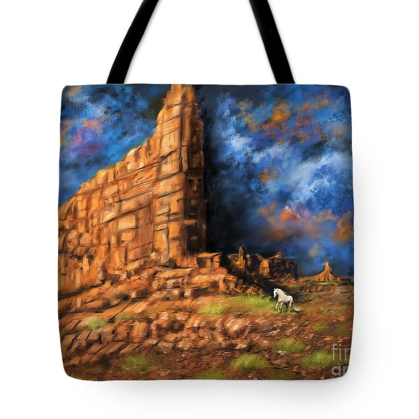 Tote Bag featuring the painting Monument Valley by S G
