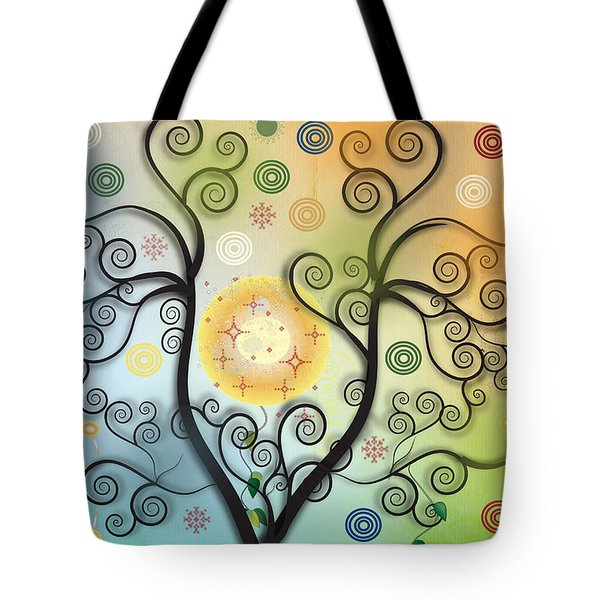 Tote Bag featuring the digital art Moon Swirl Tree by Kim Prowse