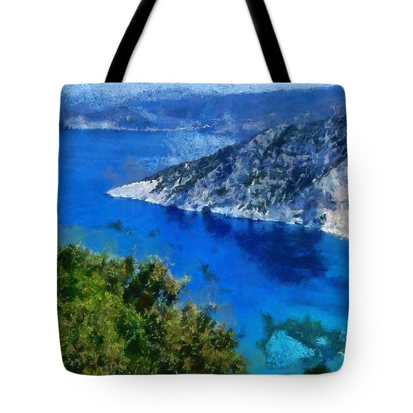 Myrtos Beach In Kefallonia Island Tote Bag