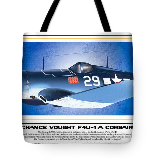 Tote Bag featuring the drawing Navy Corsair 29 by Kenneth De Tore