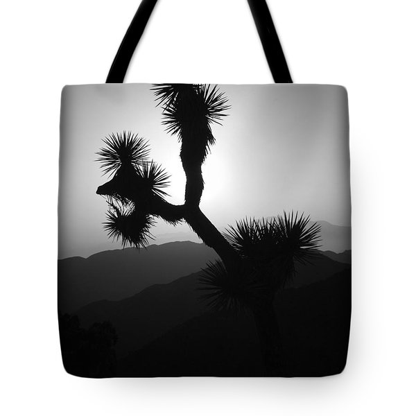 New Photographic Art Print For Sale Joshua Tree At Sunset Black And White Tote Bag
