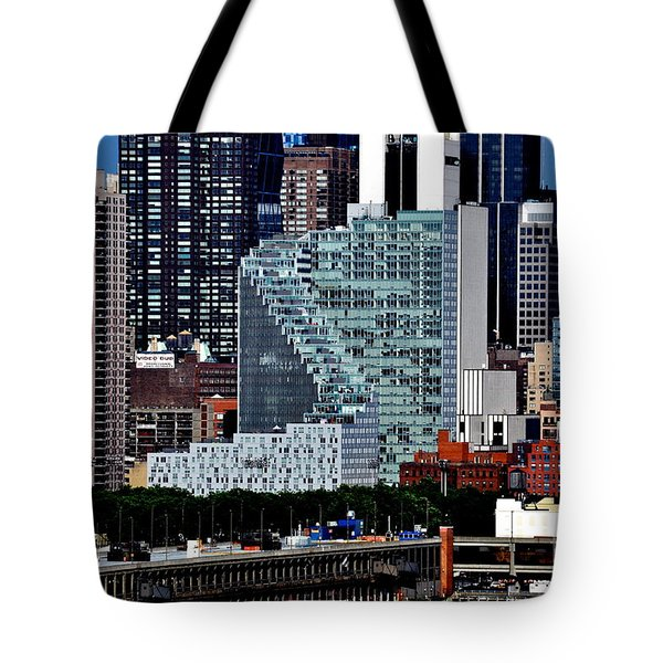 New York City Skyline With Mercedes House Tote Bag
