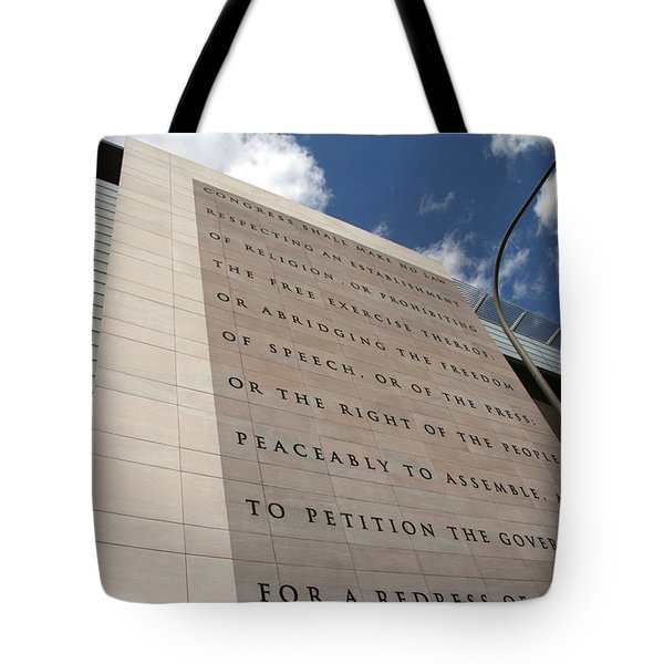 Tote Bag featuring the photograph The Newseum by Cora Wandel