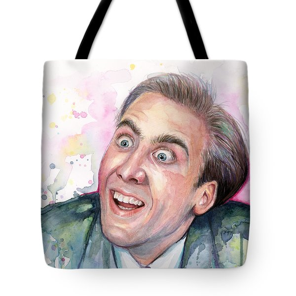 Nicolas Cage You Don't Say Watercolor Portrait Tote Bag