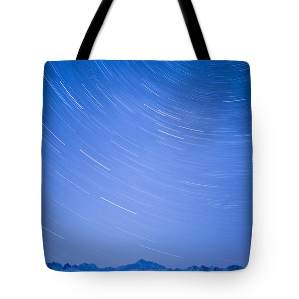 Night Time View Of Star Trails Over Mt Tote Bag