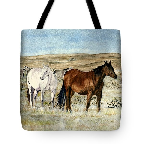 Tote Bag featuring the painting Nine Horses by Melly Terpening