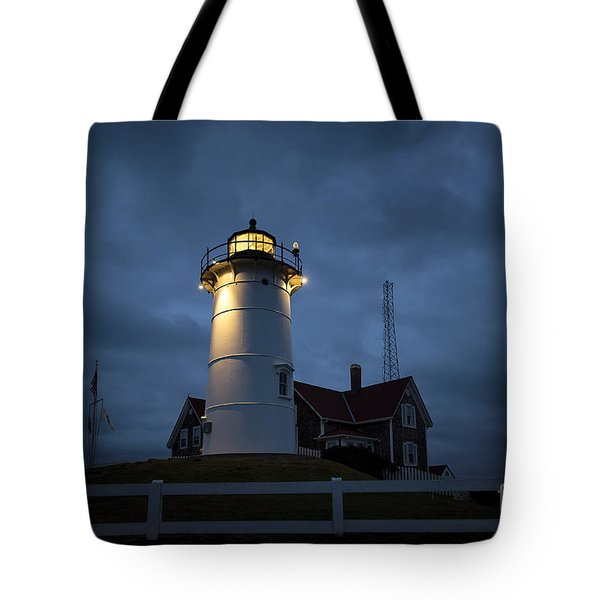 Nobska Lighthouse Tote Bag by John Greim