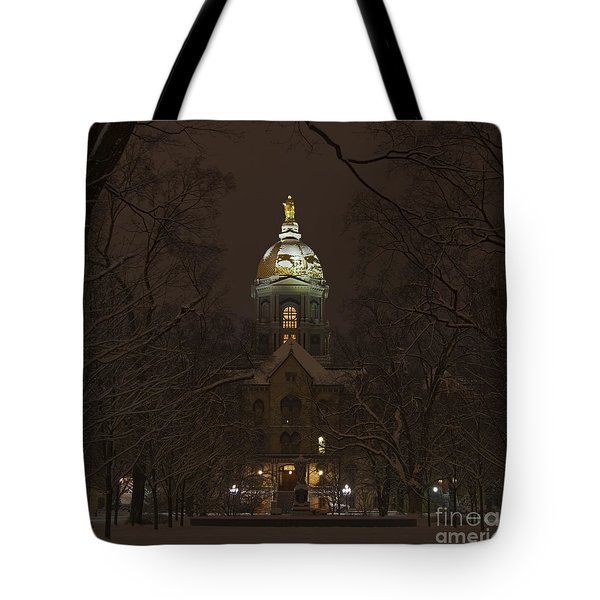 Notre Dame Golden Dome Snow Tote Bag by John Stephens