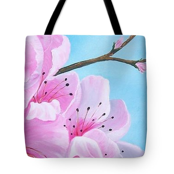 #2 Of Diptych Peach Tree In Bloom Tote Bag