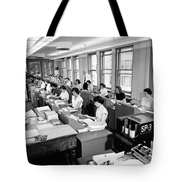 Office Workers Entering Data Tote Bag by Underwood Archives