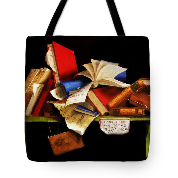 Tote Bag featuring the painting Old Books For Sale by Barry Williamson