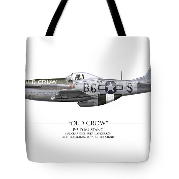 Old Crow P-51 Mustang - White Background Tote Bag