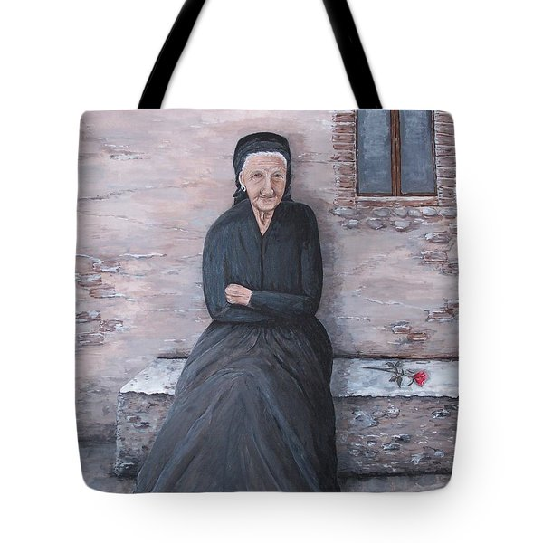 Tote Bag featuring the painting Old Woman Waiting by Judy Kirouac