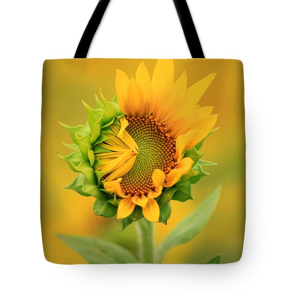 Opening Sunflower Tote Bag
