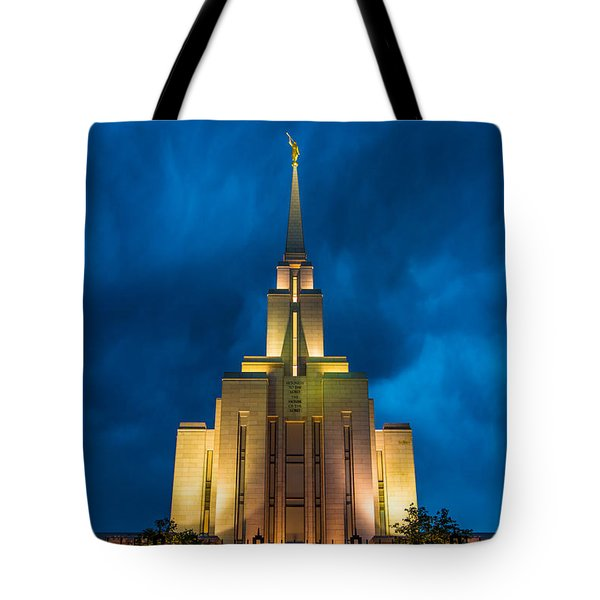 Oquirrh Mountain Lds Temple Evening Thunderstorm Tote Bag