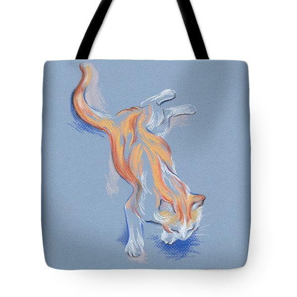 Tote Bag featuring the pastel Orange And White Tabby Cat by MM Anderson