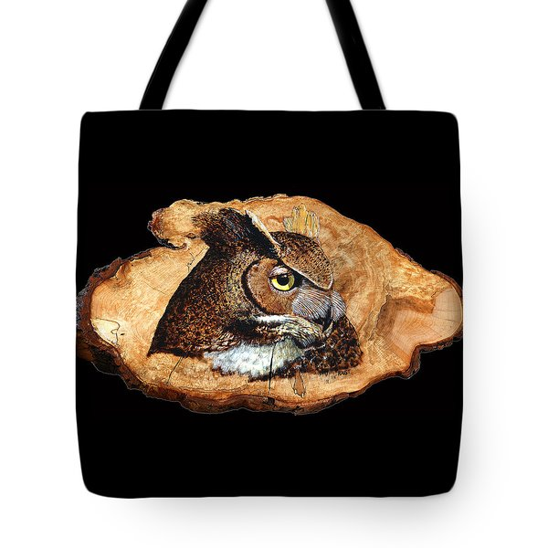 Tote Bag featuring the pyrography Owl On Oak Slab by Ron Haist