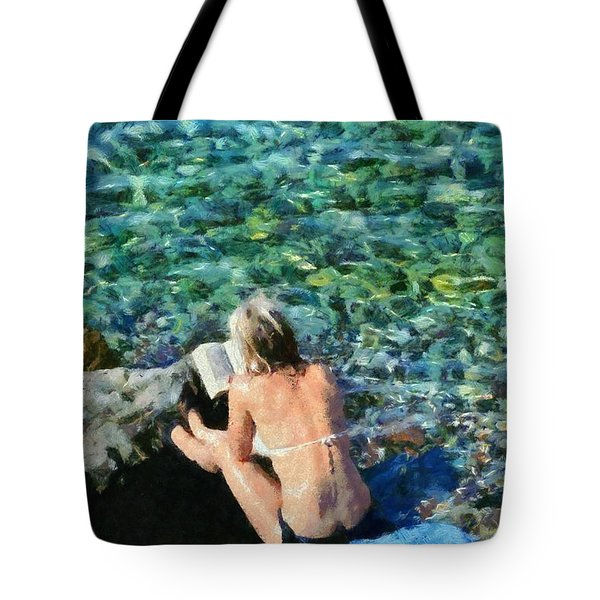 Painting Of Woman In Hydra Island Tote Bag